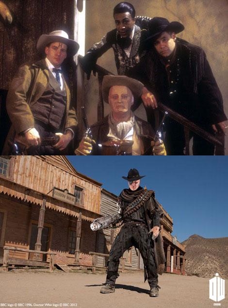 Top: Kryten and the Red Dwarf crew posing in their costumes for '6 Gunmen'. Bottom: the Gunslinger.