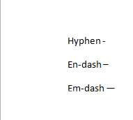 em-dashes, en-dashes, and hyphens
