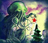 Cthulhu putting a star on a christmas tree