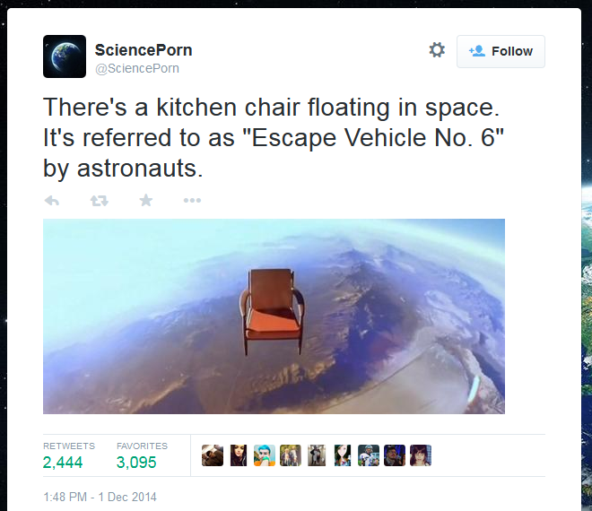 @SpacePorn's garbled description of a chair in space.